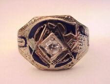 Vintage Masonic Ring, 14K White Gold, Old Cut Diamond,  No Reserve