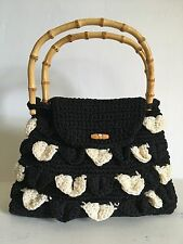 Crocodile Stitch Crocheted Handbag Purse Bamboo Handle Black White Retro Modern