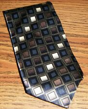 OLIVE BLACK TAN BLOCKS TIE 100% Silk Kilburne and Finch Hand Made in China