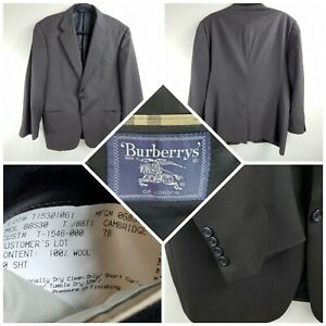 Burberrys London 100% Wool Two Button Dark Brown Sport Coat Size 40 S
