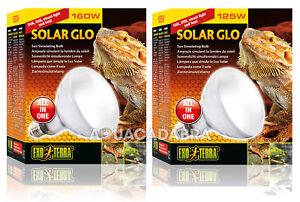 Exo Terra Solar Glo Bulb 80w 125w 160w Reptile Vivarium Lizard Heat Lamp Basking