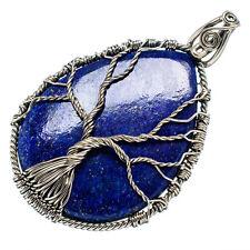 "Huge Lapis Lazuli Tree 925 Sterling Silver Pendant 2 3/4"" Jewelry P603959F"