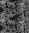 """SPOOKY SKULL SPIDER CROW POISON HALLOWEEN HAUNTED COTTON FABRIC FQ  18""""x22"""""""