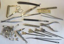 Lot d'outils chirurgicaux, dentaires, manucure et autres,….