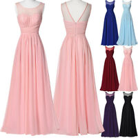 Pink Chiffon Formal Evening Ball Gown Party Prom Bridesmaid Maxi Dress Size 4-18