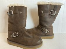 UGG Australia S/N 1969 Girls Youth Kids Kensington Leather Boots Size 3 Brown