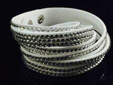 Slake Crystal Wrap Bracelet made w Swarovski Crystal & White Alcantara ® Leather