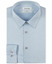 $132 Calvin Klein 16.5 36/37 Men Slim-Fit Blue Button Top Dress Shirt *Damaged*