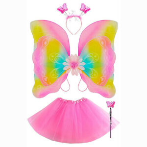 Kinder Schmetterling Kostüm Set 4 tlg Karneval Fasching Verkleidung ab 3 Jahren