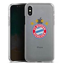 Apple iPhone X Silikon Hülle FC Bayern München Logo mit Sterne ohne Hintergrund