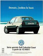 PUBLICITE ADVERTISING 115  1997  VOLKSWAGEN   la GOLF CABRIOLET COAST
