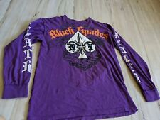 Blac Label Men's Long Sleeve Shirt Skull Ace of Spades Embossed Purple Size XL