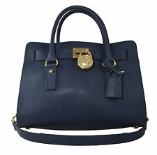 NWT Michael Kors Hamilton EW Satchel Navy Tote Auth Leather Handbag New Bag $299