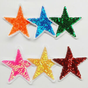 6pcs Sequin Big Star Sew-on & Iron-on Patches Embroidery Patch Appliques Craft