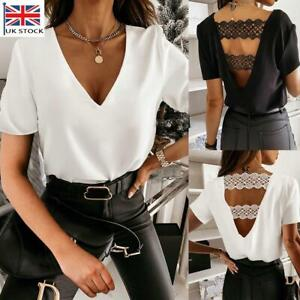 Sexy Womens V-Neck Lace Backless T-shirt Ladies Casual Summer Tops Tee Blouse UK