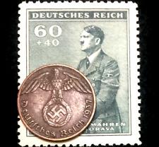 Rare Old WWII German One Reichspfennig Copper & Stamp Authentic WW2 Artifacts