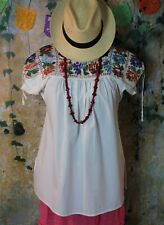 Lg Extraordinary Puebla Beaded Blouse Handmade Nahua Xochitlan Mexican Peasant