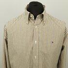 Tommy Hilfiger Mens Shirt 2 Ply LARGE Beige Regular Fit Check Cotton