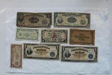Philippines Banknotes, 8 total, 1944-49, 10C, 20C, 1 Peso, 2 Pesos