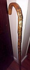 "Vintage 34"" German Walking/Hiking Stick With 8 Badges Folk Art"