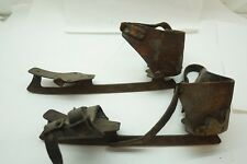 ANTIQUE ICE SKATES CAST STEEL METAL LEATHER 10in LONG PAIR SKATING PRIMITIVE