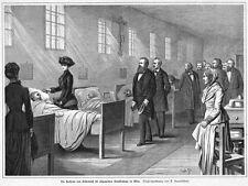 Sisi, Sissi, Kaiserin von Österreich, besucht Krankenhaus, Orig-Holzstich ca1885