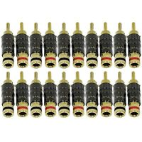 20 Pack GLS Audio Locking Series Banana Plugs Generation 4 Gold Connector Clips