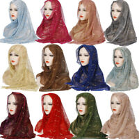 New Muslim Women Sequined Decoration Scarf Autumn Hijab Head Scarves Wrap Shawl