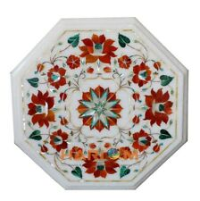 12'' White Marble Coffee Table Top Carnelian Floral Mosaic Inlay Furniture W187