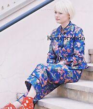 ZARA Bluish Blue Floral Print Mandarin Jacket & Trousers Suit 2 Piece M BNWT