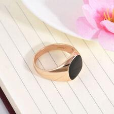 Size 10 Men Signet Ring Solid Polished Stainless Steel Band Biker Black Golden