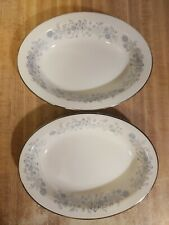 New ListingWedgwood Belle Fleur Bone China- Blue & Gray Flowers - Oval Serving Bowls (2)