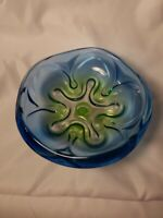 MIKASA ROYAL SYMPHONY ART GLASS  footed pedestal Candy Dish Bowl Blue Green