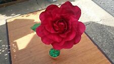 "Beautiful Large 14"" Paper Rose With Stem And Leaves In Terracatta Tone Pot E.C."