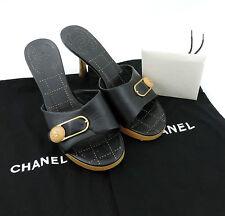 Chanel Sandali 36,5 NERO PUMPS SANDALO tacco alto legno Top