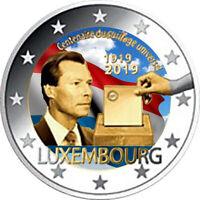 2 Euro Gedenkmünze Luxemburg 2019 coloriert  mit Farbe / Farbmünze Wahlrecht