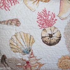Seashell Coastal Tropical Coral Orange Cream Red 3pc Full Queen Quilt Set New
