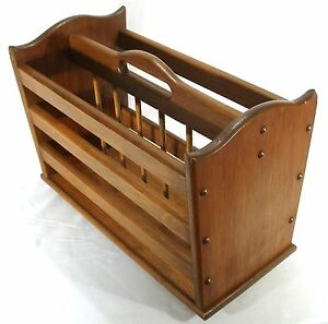 Vintage Mid Century Modern Oak Wood Slat Portable Magazine Lap Top Rack Stand