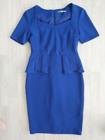 M&S Size 12 Royal Blue Wriggle Dress Pencil Skirt Peplam Vintage Retro Style