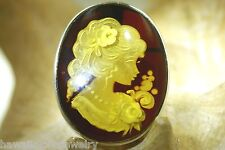 925 Silver Genuine Baltic Honey Amber Intaglio Cameo Lady Brooch Pin Pendant #6