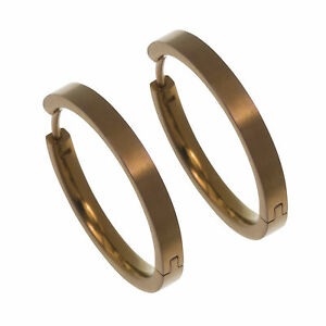 Titanium Coffee Brown Medium Full Hoop 24mm Earrings