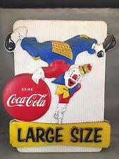 VINTAGE 1950'S COCA COLA BUTTON BOTTLE CLOWN 3D VACUFORM PLASTIC DISPLAY SIGN