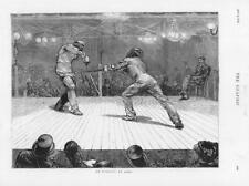 1874-ANTIQUE PRINT SPORT ESCRIME ASSAUT sabre Hommes Masque public (215)