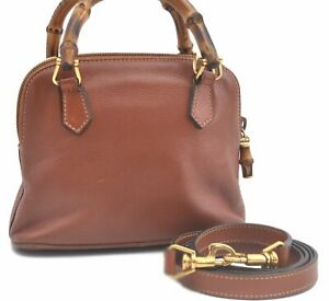 Authentic GUCCI Bamboo 2way Mini Shoulder Hand Bag Leather Brown C8418