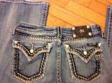 MISS ME Medium Blue JP5501416R Boot Prominent Stitch Low Rise Stretch Jeans 28