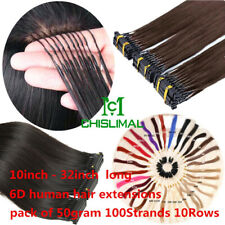long 10inch - 32inch 6D Micro Hair Extensions Remy Hair 50gram 100Strands 10Rows