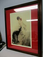 LOUIS ICART FRAMED PRINT ~ ART DECO LADY WITH DOG