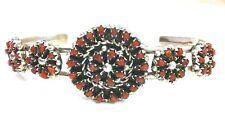 Native American Sterling Silver Zuni Handmade Coral Cuff Bracelet