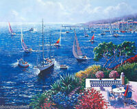 Wonderful Oil painting seascape Mediterranean sea landscape with sail boats