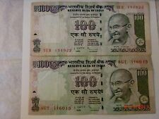 -INDIA  PAPER MONEY-TWO 'M.GANDHI' NOTES-RS. 100/-2009-ONE SIGNATORY #E24vi